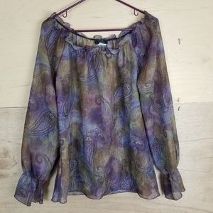Vintage Rag Purple Paisley Sheer Blouse